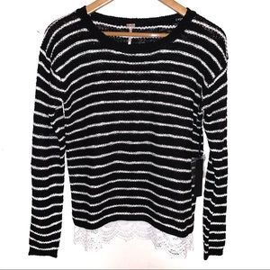NWT Poof Black and White Striped Sweater with Lace